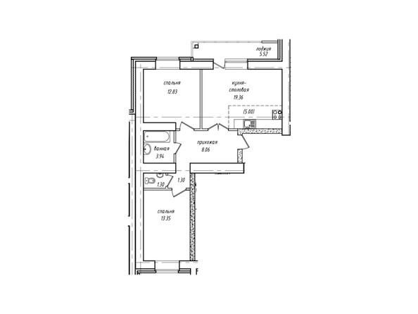 Планировки Жилой комплекс Антона Петрова, 221д/1 - Планировка двухкомнатной квартиры 62,90 кв.м