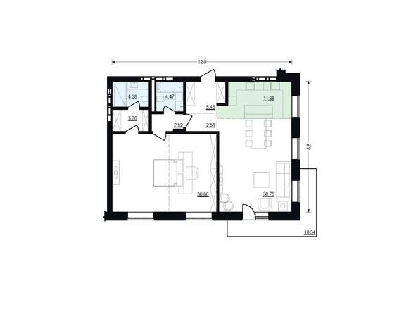 Планировки Жилой комплекс ЖУКОВКА, б/с 4 - Планировка двухкомнатной квартиры 102,09 кв.м