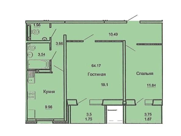 2-комнатная 64.17 кв.м
