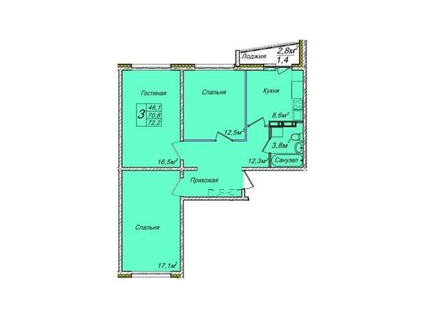 Планировки Жилой комплекс ВЕНЕЦИЯ-2, дом 6 - Планировка трехкомнатной квартиры 72,2 кв.м