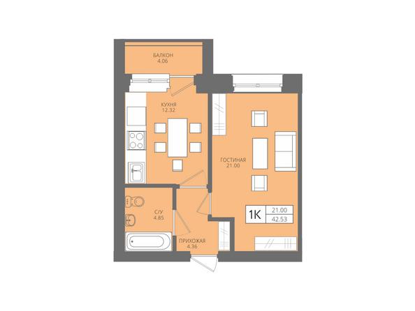 Планировки Жилой комплекс Да Винчи, дом 7 - 1-комнатная 42,53 кв.м