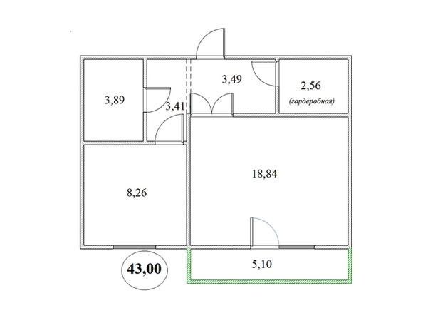 Планировка 1-комнатной квартиры 43 кв.м