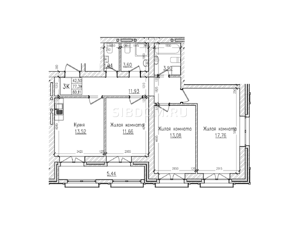 Планировки Жилой комплекс КРАСНЫЙ ПРОСПЕКТ, дом 4 - 3-комнатная 77,3 кв.м