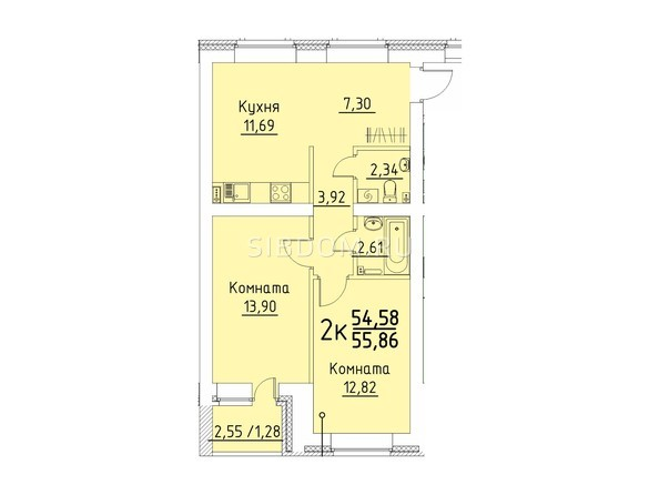 Планировка 2-комн 55,86 м²