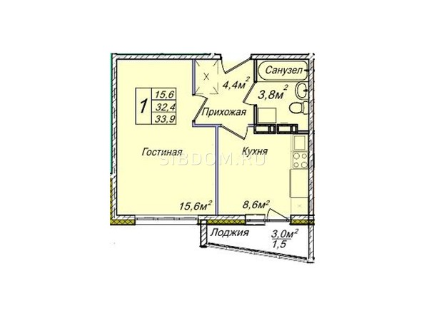 Планировки Жилой комплекс ВЕНЕЦИЯ-2, дом 5 - Планировка однокомнатной квартиры 33,9 кв.м