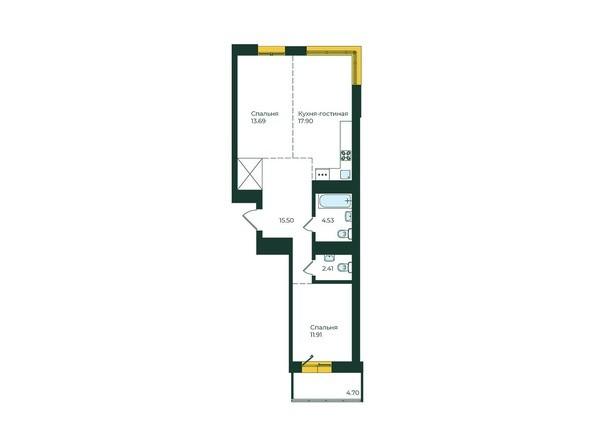 2-комнатная 70,64 кв.м