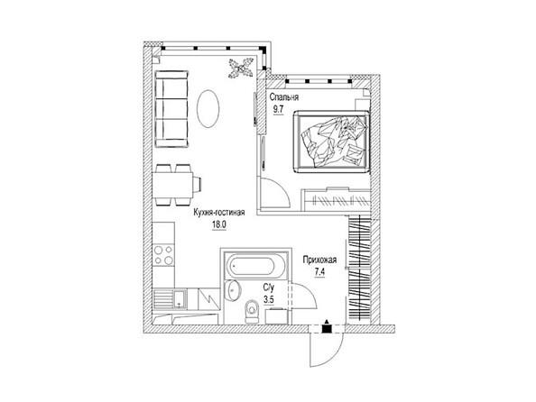 Планировка 1-комн 40,2 м²