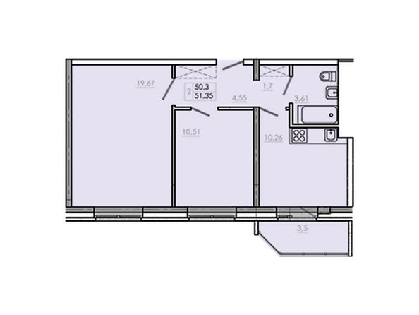Планировки Жилой комплекс Новое Ново-Ленино, б/с 30-32 - Планировка двухкомнатной квартиры 53,8 кв.м