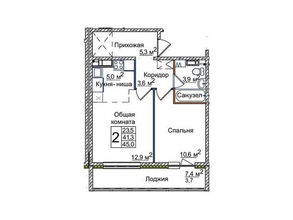Планировки ВОСТОЧНЫЙ, 84/3 - 2-комнатная 45 кв.м