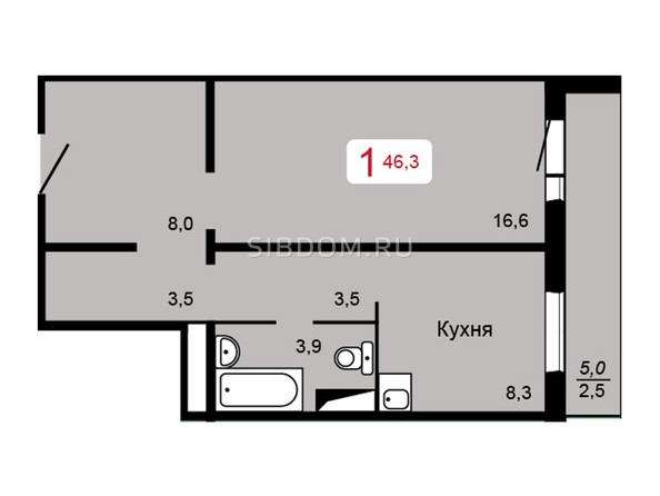 Планировка 1-комн 46,3 м²
