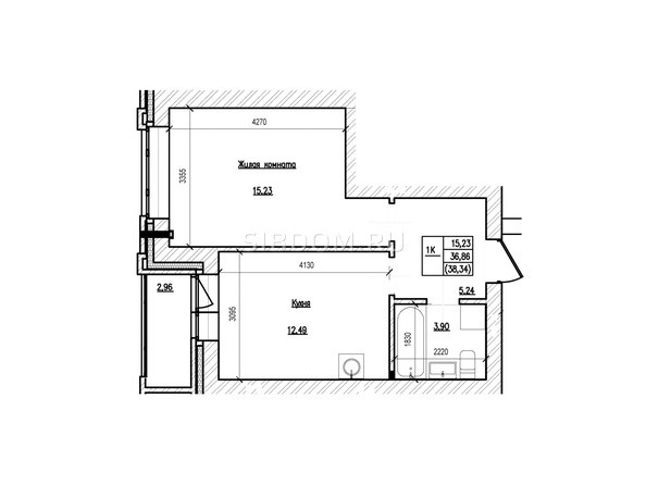 Планировка 1-комн 38,34 м²
