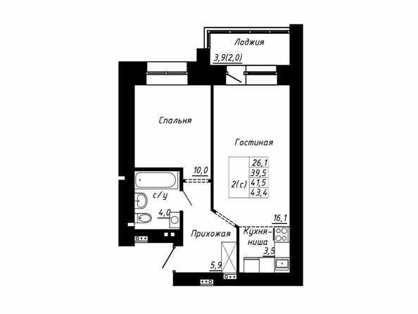 Планировка 2-комн 41,5, 43,4 м²