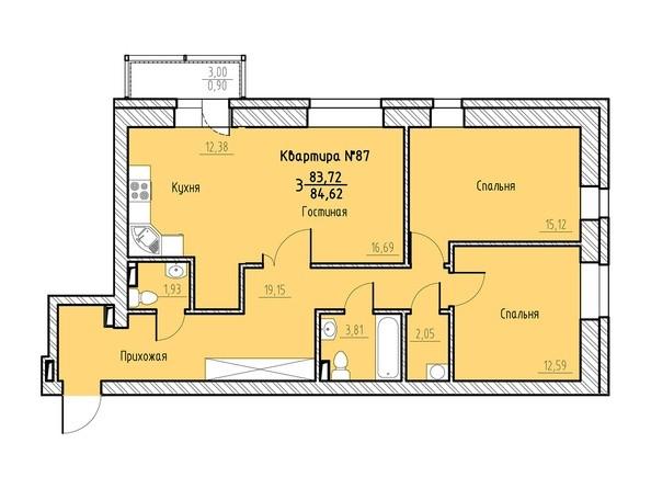 Планировка 3-комн 84,62 м²