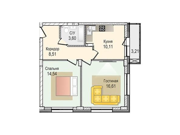 Планировки Жилой комплекс КрымSky, дом 8 - 2-комнатная 53,37 кв.м