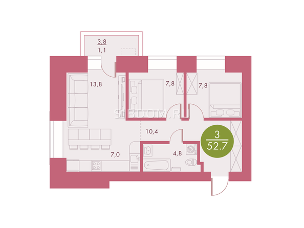 Планировки Жилой комплекс Арбан SMART (Смарт) на Шахтеров, д 2 - Планировка трехкомнатной квартиры 52,7 кв.м