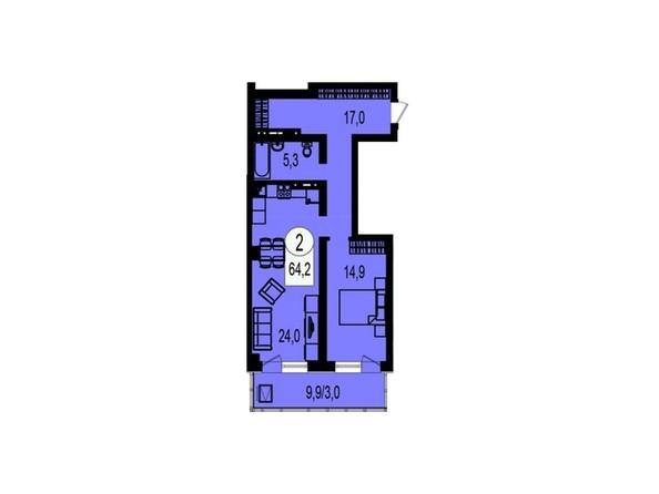 Планировка 2-комнатной квартиры 64,2 кв.м