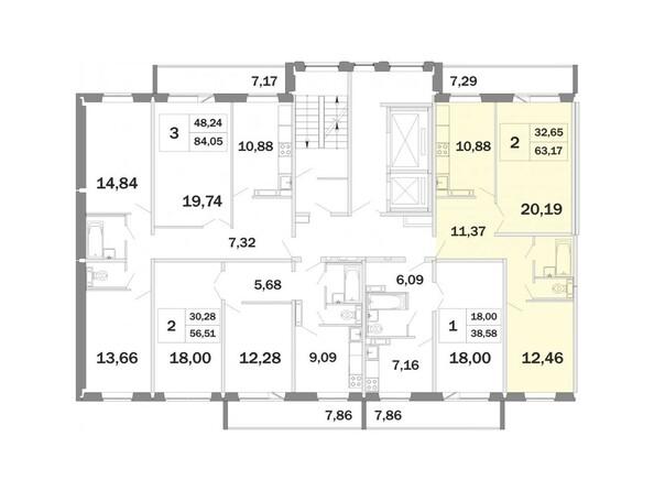 Планировки Жилой комплекс РАДОНЕЖСКИЙ, КПД-13 - Планировка двухкомнатной квартиры 63,17 кв.м