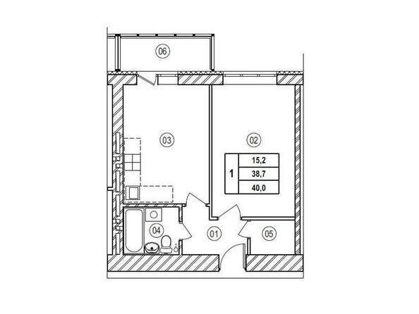 Планировки Жилой комплекс ВЕРХНИЙ БУЛЬВАР, 7 дом, б/с а,б,в - Планировка однокомнатной квартиры 40 кв.м