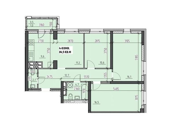 Планировки Жилой комплекс НА ВЫСОТЕ, 2 этап - Планировка четырехкомнатной квартиры 84,5 кв.м