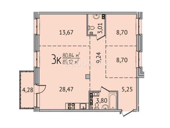 3-комнатная 84,92 кв.м