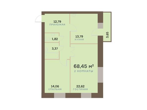 Планировки Жилой комплекс ЮЖНЫЙ БЕРЕГ, дом 17 - Планировка двухкомнатной квартиры 69,55 кв.м