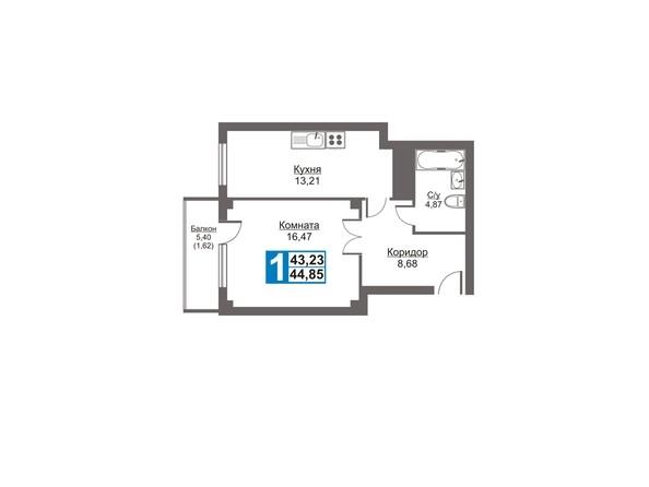 Планировки Жилой комплекс Калинина, 47б, дом 2 - Планировка однокомнатной квартиры 44,85 кв.м