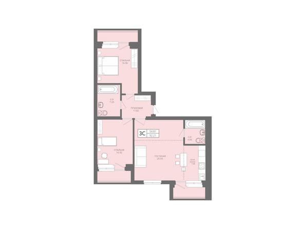Планировки Жилой комплекс Да Винчи, дом 5 - 3-комнатная 92,21 кв.м