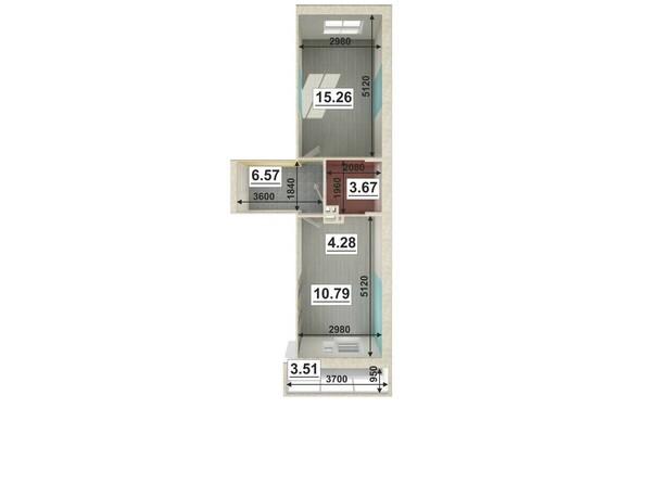 Планировки Жилой комплекс ЮГО-ЗАПАДНЫЙ, б/с 8-10 - Планировка двухкомнатной квартиры 40,62 кв.м