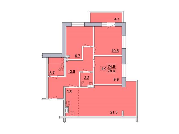 Планировка 4-комн 78,8, 78,9 м²