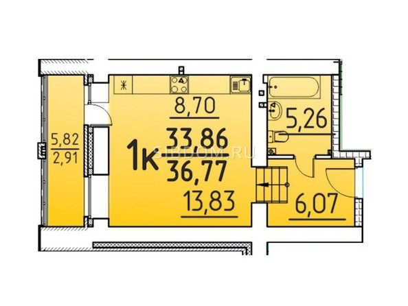 Планировка 1-комн 36,77 м²