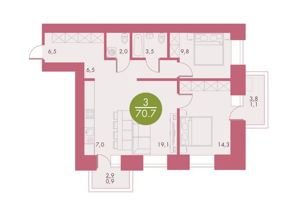 Планировки Жилой комплекс Арбан SMART (Смарт) на Шахтеров, д 3 - Планировка трехкомнатной квартиры 70,7 кв.м