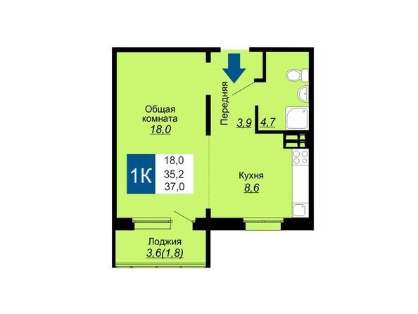 Планировки Жилой комплекс НА ГЕРЦЕНА, дом 1 - Планировка однокомнатной квартиры 37 кв.м