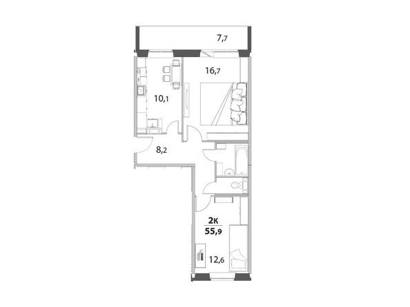 2-комнатная 55.9 кв.м