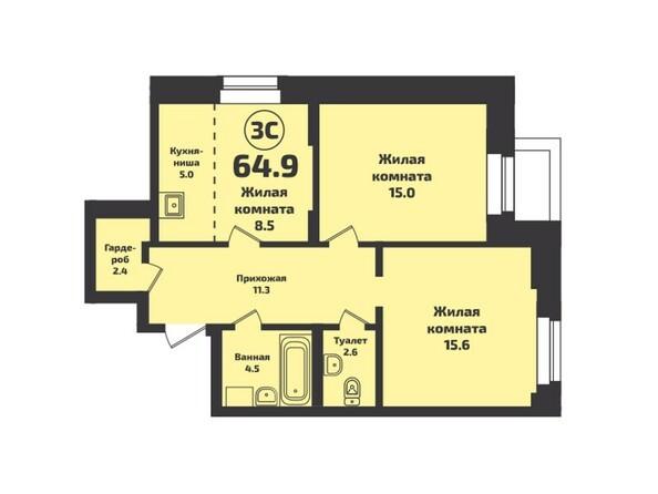 Планировка 3-комн 64,9 м²