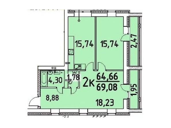 2-комнатная 64.66; 69.08 кв.м