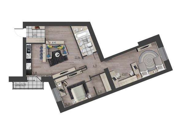 Планировки Жилой комплекс ПРЕОБРАЖЕНСКИЙ, дом 9 - 3-комнатная 91,04 кв.м