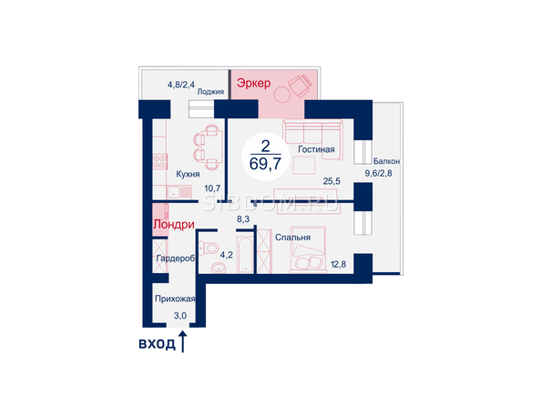 Планировки Жилой комплекс SCANDIS (Скандис), дом 11 - Планировка двухкомнатной квартиры 69,7 кв.м