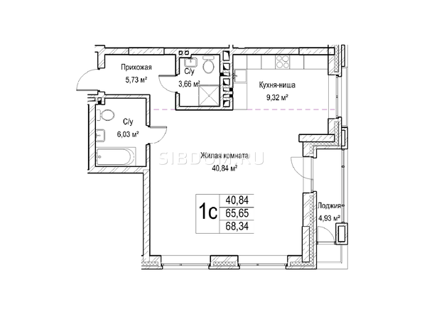 Планировки Жилой комплекс ЯДРИНЦЕВСКИЙ КВАРТАЛ - 1-комнатная студия 65,6 кв.м. Блок-секция 1