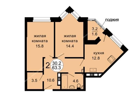 Планировки Жилой комплекс НОВАЯ ПАНОРАМА , дом 3 - Планировка двухкомнатной квартиры 63,3 кв.м