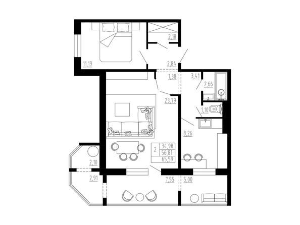 2-комнатная 65 кв.м