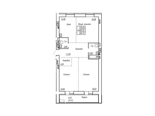 Планировки Жилой комплекс МОТОР, корпус 2 - Планировка трёхкомнатной квартиры 94,73 кв.м