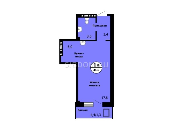 Планировка Студия 31,9, 32,1 м²