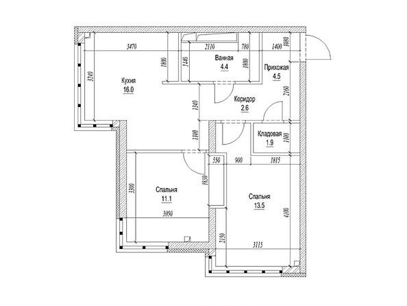 Планировка 2-комн 56,9 м²