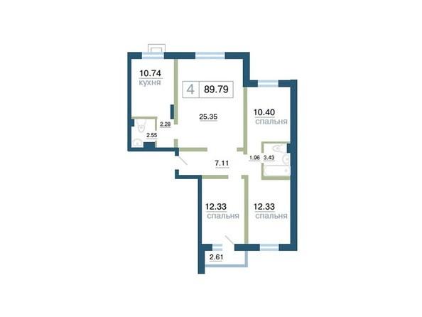 Планировка 4-комн 89,79 м²