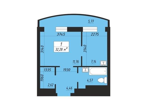 Планировка однокомнатной квартиры 32,28 кв.м