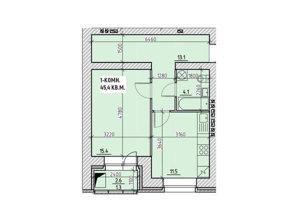 Планировки Жилой комплекс НА ВЫСОТЕ, 1 этап - Планировка однокомнатной квартиры 45,4 кв.м