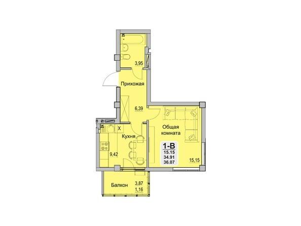 Планировки Жилой комплекс INNOVATION (Инновейшн) - 1-комнатная 34,91 кв.м