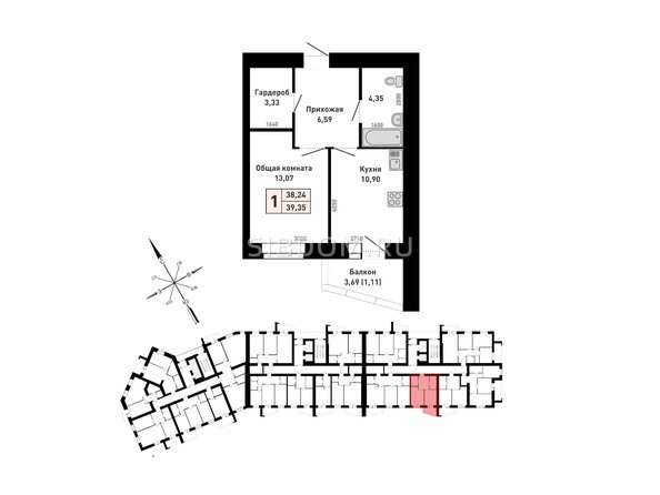 Планировка 1-комн 38,24, 39,35 м²
