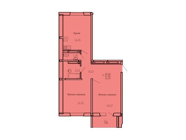 Планировка 2-комн 53,37 м²