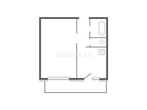 Планировка 1-комн 37,73, 38,98 м²